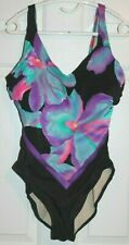 Vtg Slimsuit Ladies Bathing Suit Swim Suit Sz 16 Black w Purple Floral Underwire