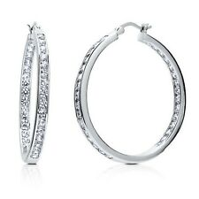 "1 3/8"" Inside Out Brilliant Round Diamonique CZ Hoop Earrings AntiTarnish Silver"