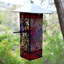 Easy Fill Mosaic Glass Bird Feeder Irridescent Mirror 4 Perch Holds 2.8 Cup Seed
