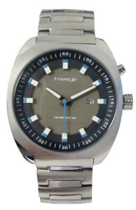 Freestyle Mens Phospher 40211 Wrist Watch NEW Silver Black Backlight Luminous