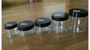 Clear empty plastic storage containers jars pots tubs 50ml 100ml 150ml 200ml 250