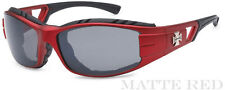 New Choppers Motor Bikers Mens Foam Padded Goggle Sunglasses - Matte Red C51