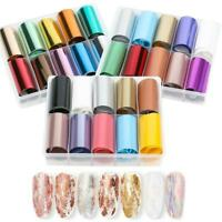 10Pcs/Box Holographic Nail Art Stickers Decals Nail Transfer Foil Manicure Decor