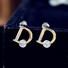 NEWFashionWomenstub Earring PlatedCrystalRhinestone Letter D StudEarring