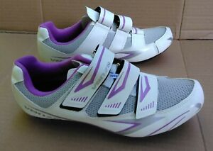 Venzo MX Women's Biking Cycling Shoes White Silver Violet Size 9 1/2  VGC