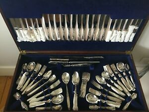 Art Deco Grosvenor Christine Cutlery Set for 12 in Queen Anne Canteen Side Table