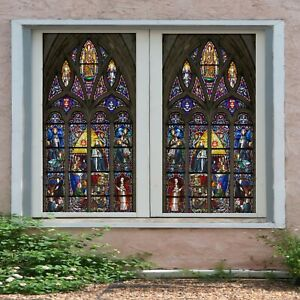 3D Church Allah I42 Window Film Print Sticker Cling Stained Glass UV Block Ang