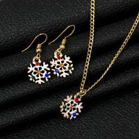 Christmas Xmas Kids Women Jewelry Set Santa Bell Snowman Necklace Earrings G