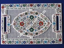 """18""""x12"""" Gorgeous Marble Filligree Tray Marquetry Multi Floral Inlay Decor H3287"""