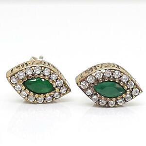 Deco .80ctw Emerald & Diamond Cut White Sapphire 14K Yellow Gold 925 Earrings