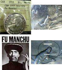 SCARCE DIE CLASH FU MANCHU VARIETY ,1955 CANADA  VOYAGEUR SILVER DOLLAR