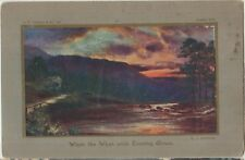 SETTING SUN LANDSCAPE Artist Signed SJ Barnes Oban Beautiful Colour PC 1909