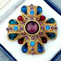 Stunning Large Signed SPHINX Goldtone Cross Brooch Pin Multi-Coloured Stones