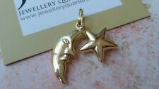 3D 9ct Yellow Gold Moon & Star 25mm Charm Pendant - Gift Boxed - Free UK Post
