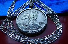 "1940's High Grade Walking Liberty Half Dollar Pendant on a 30"" .925 Silver Chain"