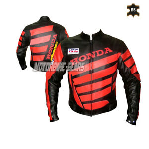 Black and red racing leather smart bike jacket with armours hrc style apparel