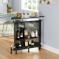 Contemporary Modern Home Liquor Bar Table Wine Cabinet Shelves Metal Mesh Front