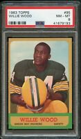 1963 Topps FB Card # 95 Willie Wood Packers ROOKIE CARD PSA NM-MT 8 !!