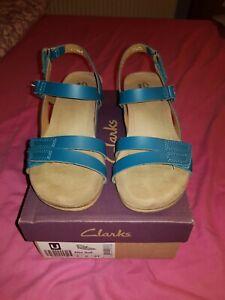 clarks ladies alto full turquoise size 4 strap shoe large heel sandals