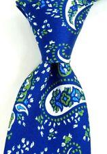 $175 Petronius Blue White & Green Paisley Print Faille Silk Tie Italy NWT