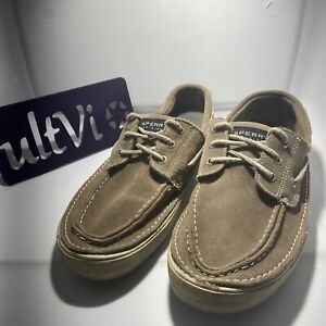 Sperry Top Sider Mens 10 M Lace Up Flat Boat Shoe Leather Beige