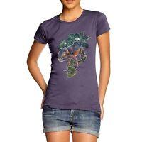 Twisted Envy Women's Cotton Rainbow Chameleon Lizard Print T-Shirt