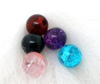 200 Mixte Perles craquelées en Verre Rond 6mm Dia. a la mod