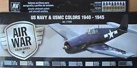 Vallejo Model Air VAL71157 WW2 US Navy + USMC aircraft  8 colour paint set