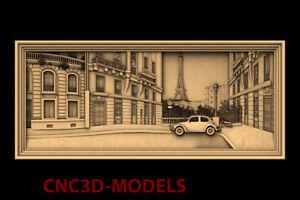 3D Model CNC Router STL file Artcam Aspire Vcarve France Paris city panno PK90