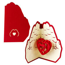 Heart in Hands 3D Greeting Card Valentine Anniversary Birthday Pop Up Postcard N