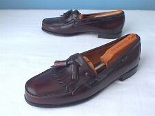 EUC Benchmark Men's Leather Kiltie Tassel Loafers Burgundy Size 12D(US)