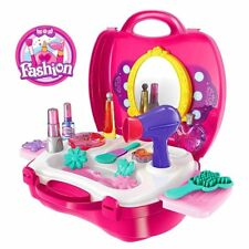 Makeup Case Beauty Salon Cosmetic Hair Solon Toy Pretend Play Kids Girl Gift SET