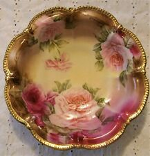 c.1891 Large Hand Painted Nippon Floral Design Scalloped Gilt Edge Bowl ON SALE!