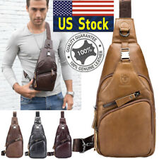 Men's Genuine Back pack Leather Sling Chest Shoulder Cross Body Cycle Day Packs