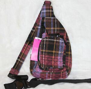Vera Bradley Iconic Mini Sling Backpack Bag Fall Handbag Cozy Plaid Checks NWT