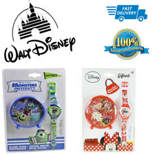 DISNEY DIGITAL WRIST WATCH & ALARM CLOCK GIFT SET- DISNEY MINNIE MOUSE&MONSTERS