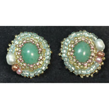 Aventurine with Pearls-Earrings with Seed Beads