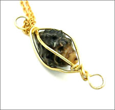 """Vintage NECKLACE TRAPPED Brown SEASHELL Suspended in CAGE Pendant Goldtone  16"""""""