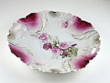 """Cake Plate Antique PS Germany Porcelain White Gold with Pink Roses 10.5"""" EUC"""