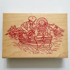 Row Boat Couple Rubber Stamp Man Woman Love Rowing River Date Wood Mounted
