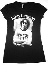 The Beatles John Lennon T-shirt Nyc Retro Juniors Pop Rock Tee S-Xl Black New