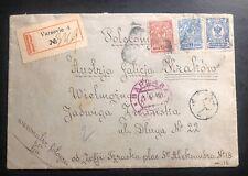 1912 Warsaw Poland Russia Empire Registered Cover To Krakow Galicia Austria