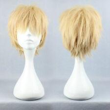 Men Fashion Short Blonde Straight Hair Cosplay Murder DMMd Noiz Anime Full Wigs