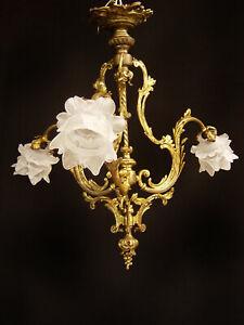 französischer Jugendstil Kronleuchter Deckenlampe um 1910/20 Messing restauriert
