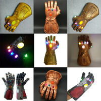 Thanos / Iron Man Infinity War Gauntlet Gloves w/LED Light For Marvel Avengers