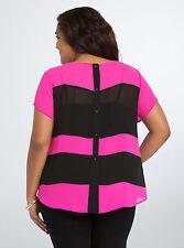 NWT Torrid black & pink striped chiffon button back short sleeve top, size 6 6X