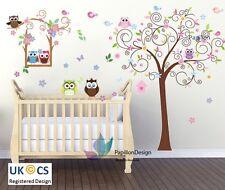 Owl/swingtree/Flor/Mariposa Animal Vivero Bebé Unisex Pegatinas de Pared Arte Calcomanía