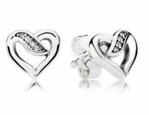 Genuine Pandora Sterling Silver Ribbon of Love Stud Earrings Clear CZ 290736CZ