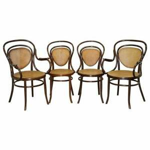 FOUR FULLY STAMPED CIRCA 1890 J&J JACOB & JOSEF KOHN BENTWOOD BERGER ARMCHAIRS