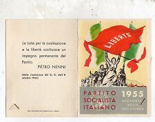 TESSERA  P.S.I.  PARTITO  SOCIALISTA  ITALIANO  1955  ORIGINALE  CON  BOLLINI